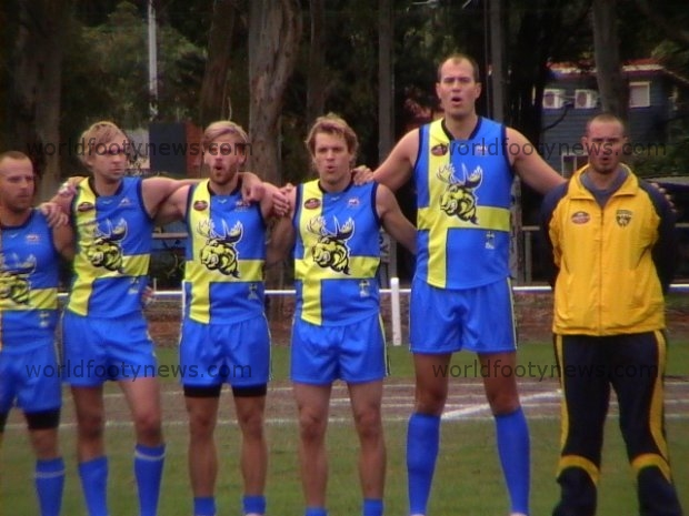 Sweden's line up prior to Ireland match