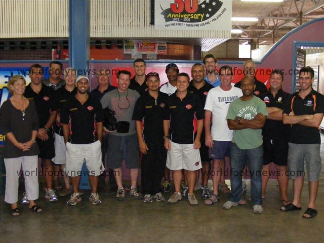 Officials from the touring party for the PNG Kupundas vs Flying Boomerangs